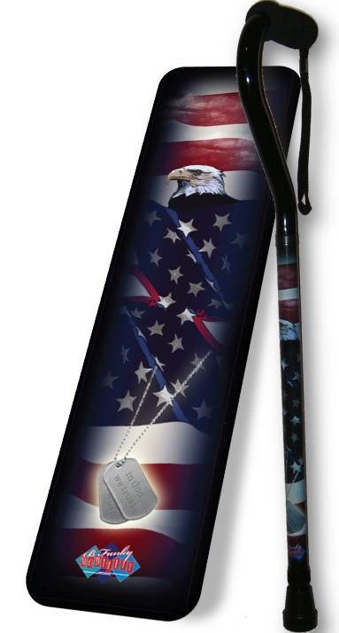BFunkyMobility B9224 Military Dog Tags W/Eagle Offset Walking Cane