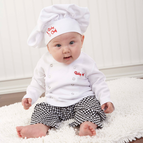 "Big Dreamzzz"" Baby Chef Three Piece Layette in Culinary Themed Gift Box"