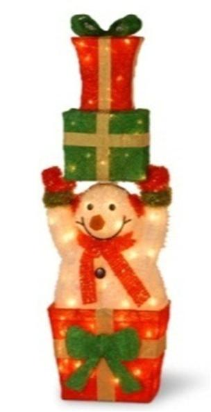 "National Tree MZTSM-32LO 32"" Tinsel Snowman Holding Sisal Gifts with 55 Clear Outdoor Lights"