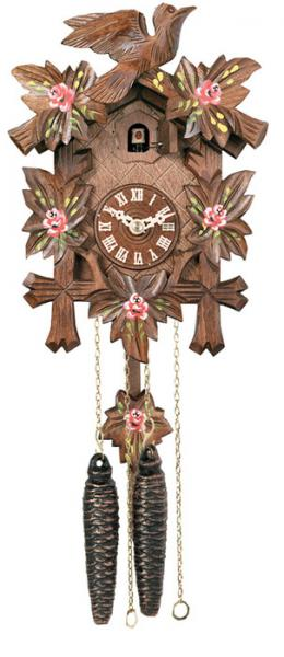One Day Hand-Carved Cuckoo Clock with Hand-Painted Flowers, Five Maple Leaves, & One Bird - 9 Inches Tall