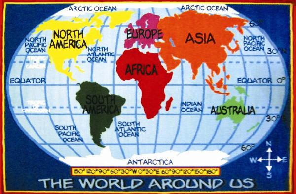 La Rugs Kids World Map 53x76 Fun Time Fun Rug Ft-167 5376. Popular Products