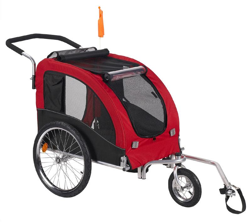 Dog Bike Trailer/Jogging Stroller with Stroller Kit Red Large