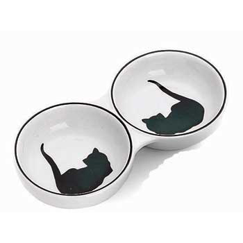 Ceramic Grecian Cat Double Dish 8.5""