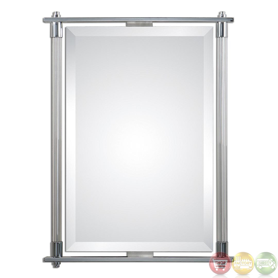 Adara contemporary polished chrome plated vanity mirror 01127 Polished chrome bathroom mirrors