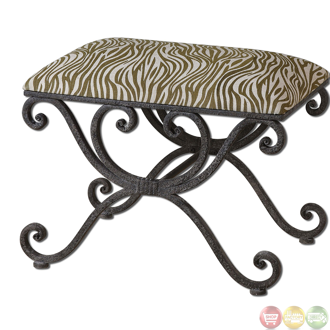 Aleara Zebra Animal Print Small Wrought Iron Seating Accent Bench 23089 Ebay