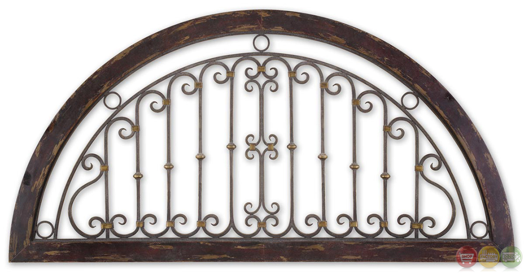 Calabria wrought iron heavily distressed window arch wall for Window arch wall decor