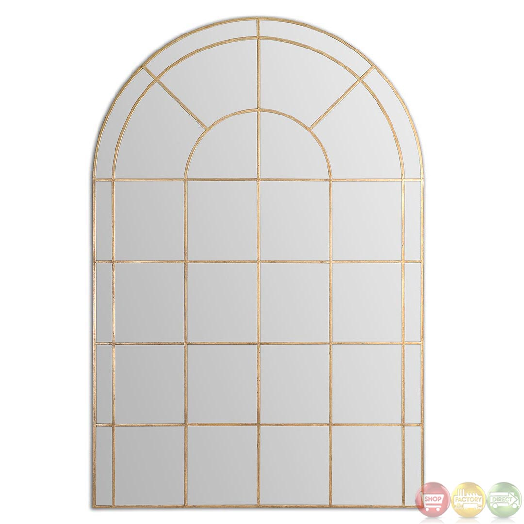 Grantola Antiqued Gold Arched Window Pane Mirror 12866 Ebay