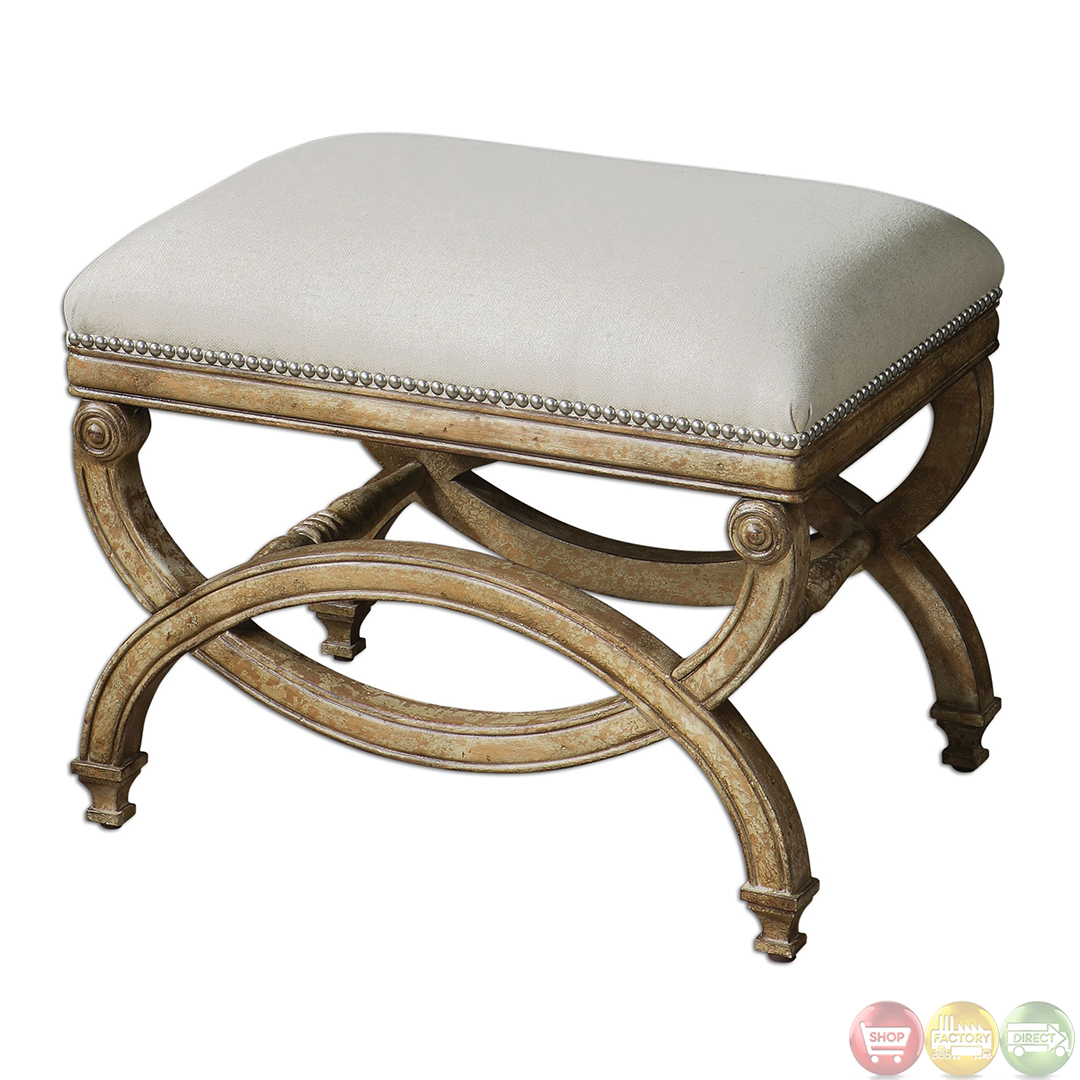 Karline hand carved wood frame natural linen small bench