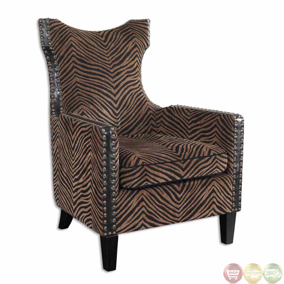 Kimoni Zebra Animal Print Wing Back Accent Armchair 23003