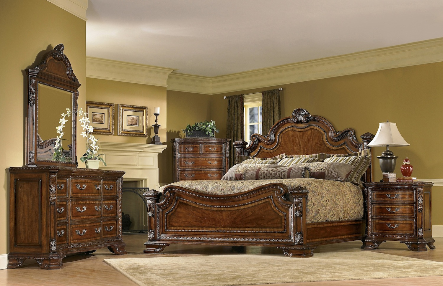 Old world 5 piece king traditional european style bedroom for Traditional furniture