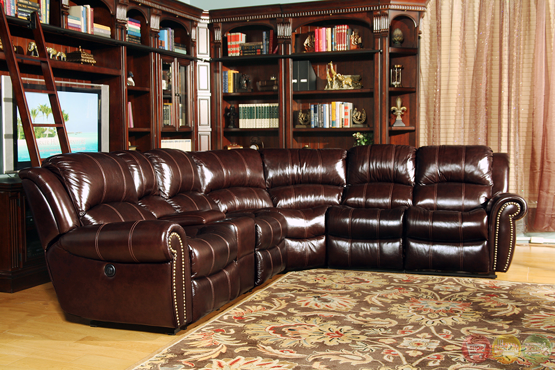 Parker living poseidon traditional brown leather power for Traditional sectional