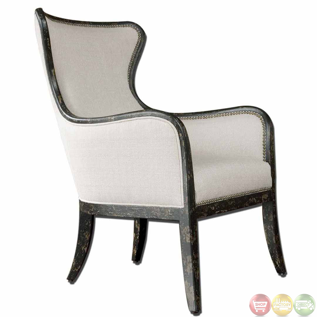 Sandy Traditional Wing Back Exposed Wood Frame Linen Chair ...