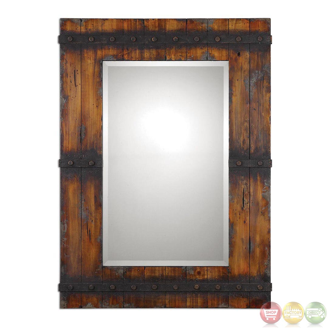 stockley country barn door inspired wood mirror with