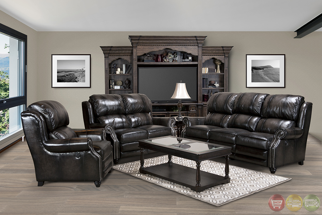 Twain Traditional Black Top Grain Leather Power Reclining