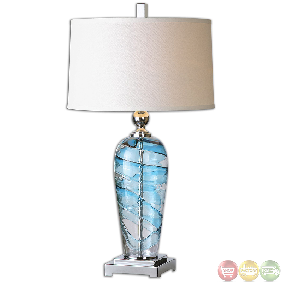 Andreas Blue Swirl Glass Amp Nickel Accented Table Lamp