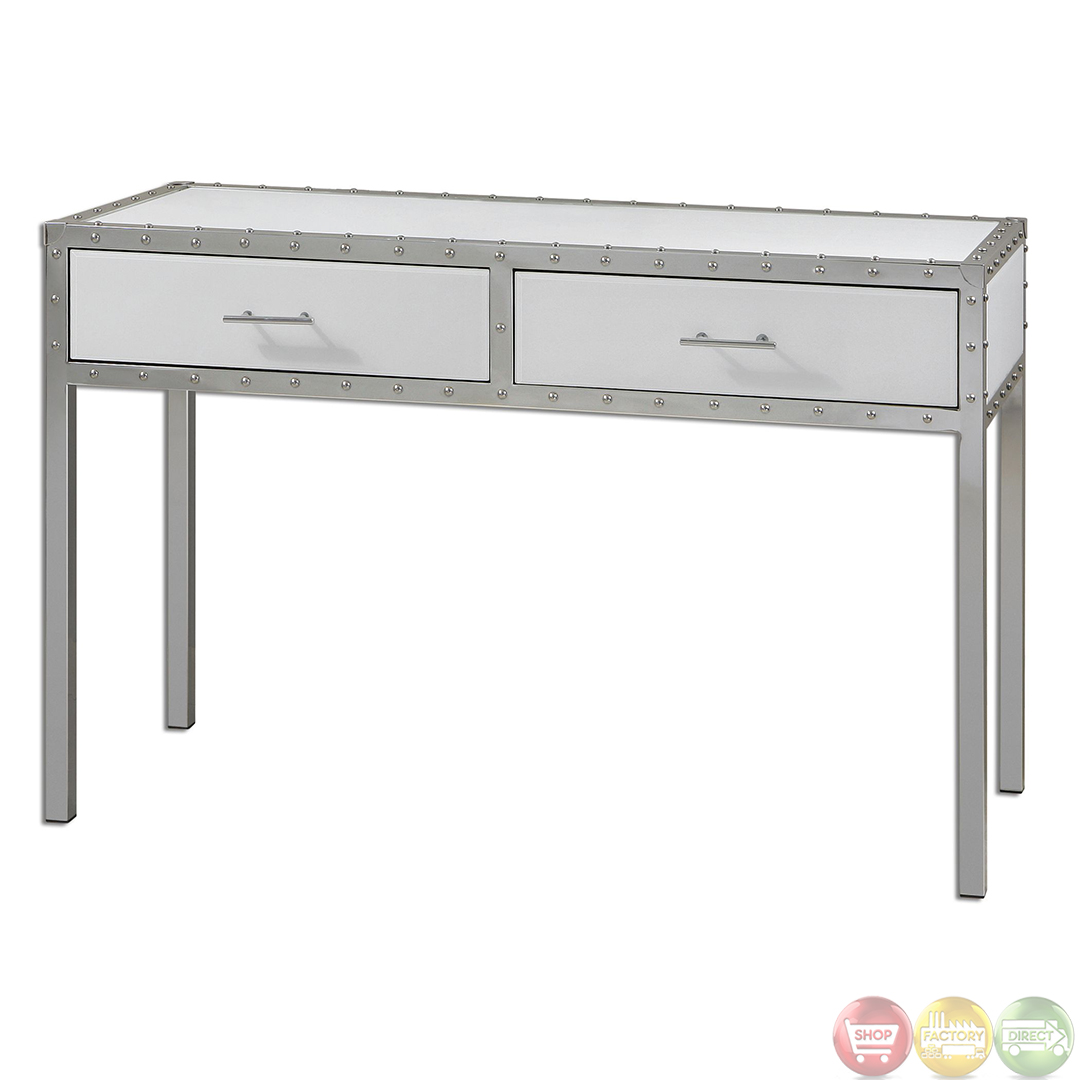 Bryton white riveted polished chrome hall console table for Table console