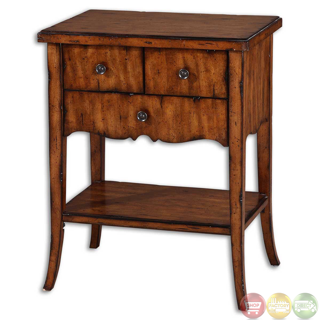 Carmel traditional dovetail drawer wooden end table 24140 for End tables with drawers