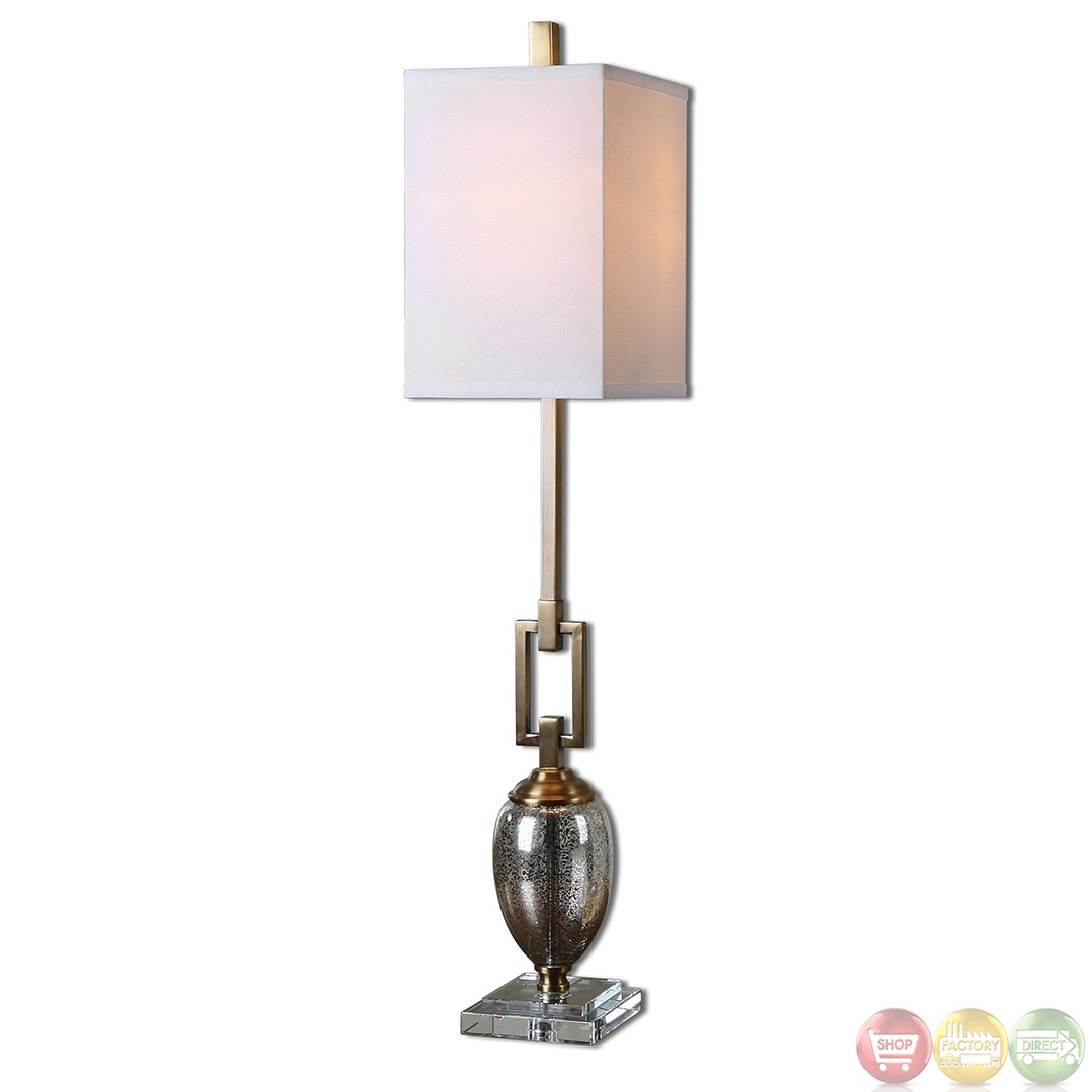Contemporary buffet lamps - Designed By David Frisch The Uttermost Copeland Mercury Glass Buffet Lamp Is Elegance At Its Best Beautifully Tall And Enchantingly Symmetrical