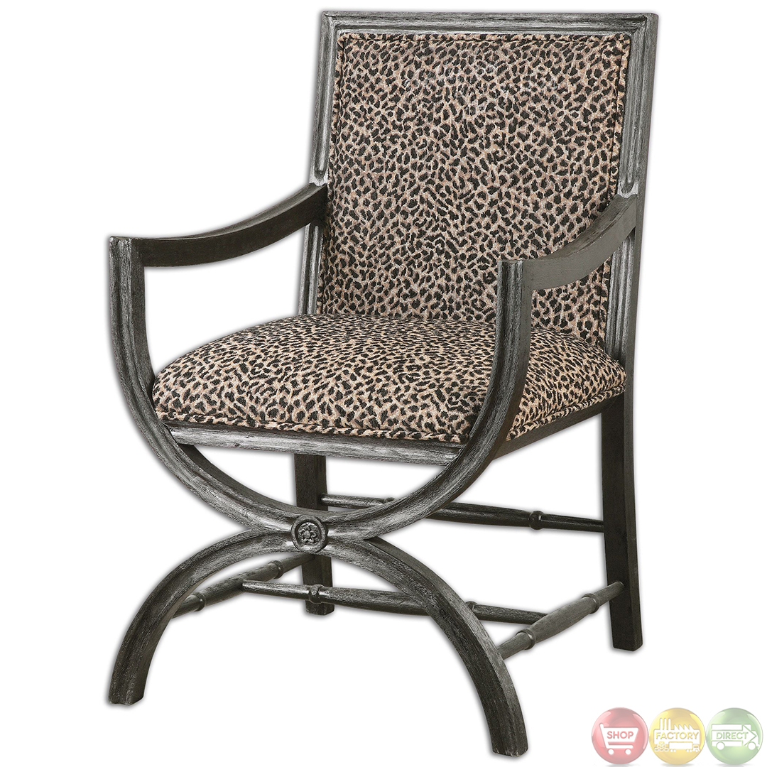 Missoni Style Print Accent Chair: CyerraLeopardPrintWoodFrameSafariAccentChair23176