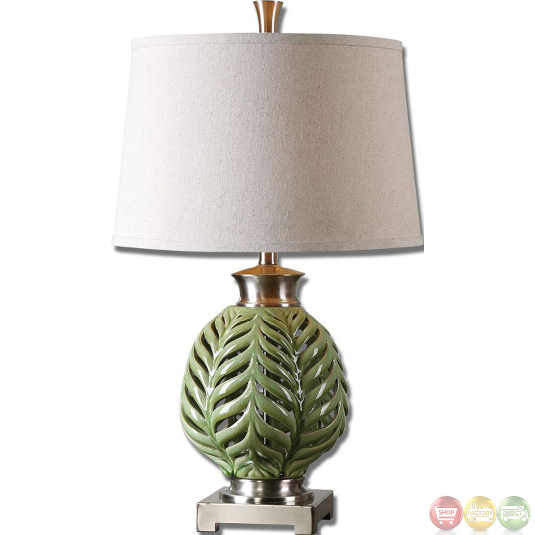 Flowing Fern Crackle Lime Green Glazed Table Lamp 26285 EBay