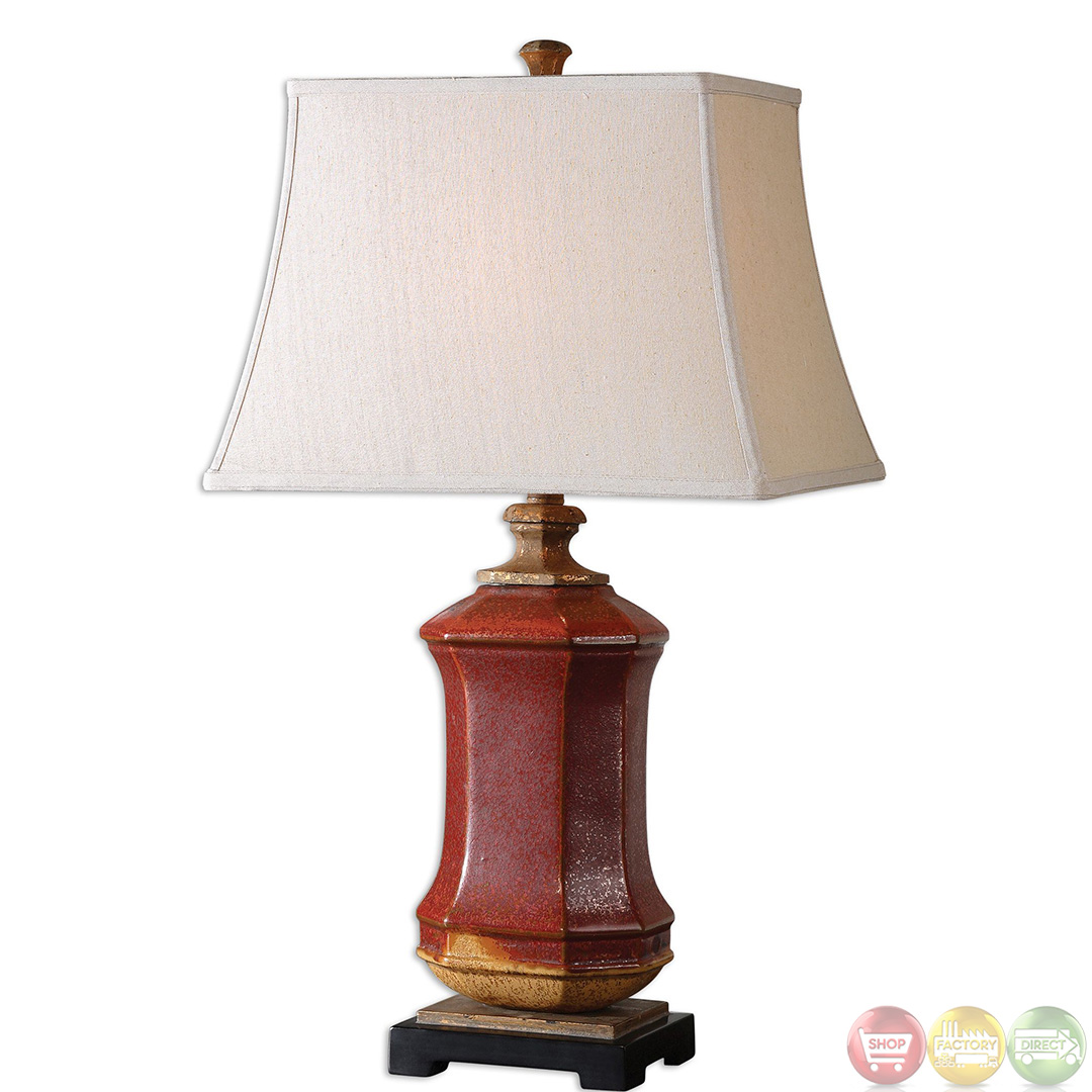Fogliano Distressed Rustic Red Ceramic Table Lamp 26497 Ebay
