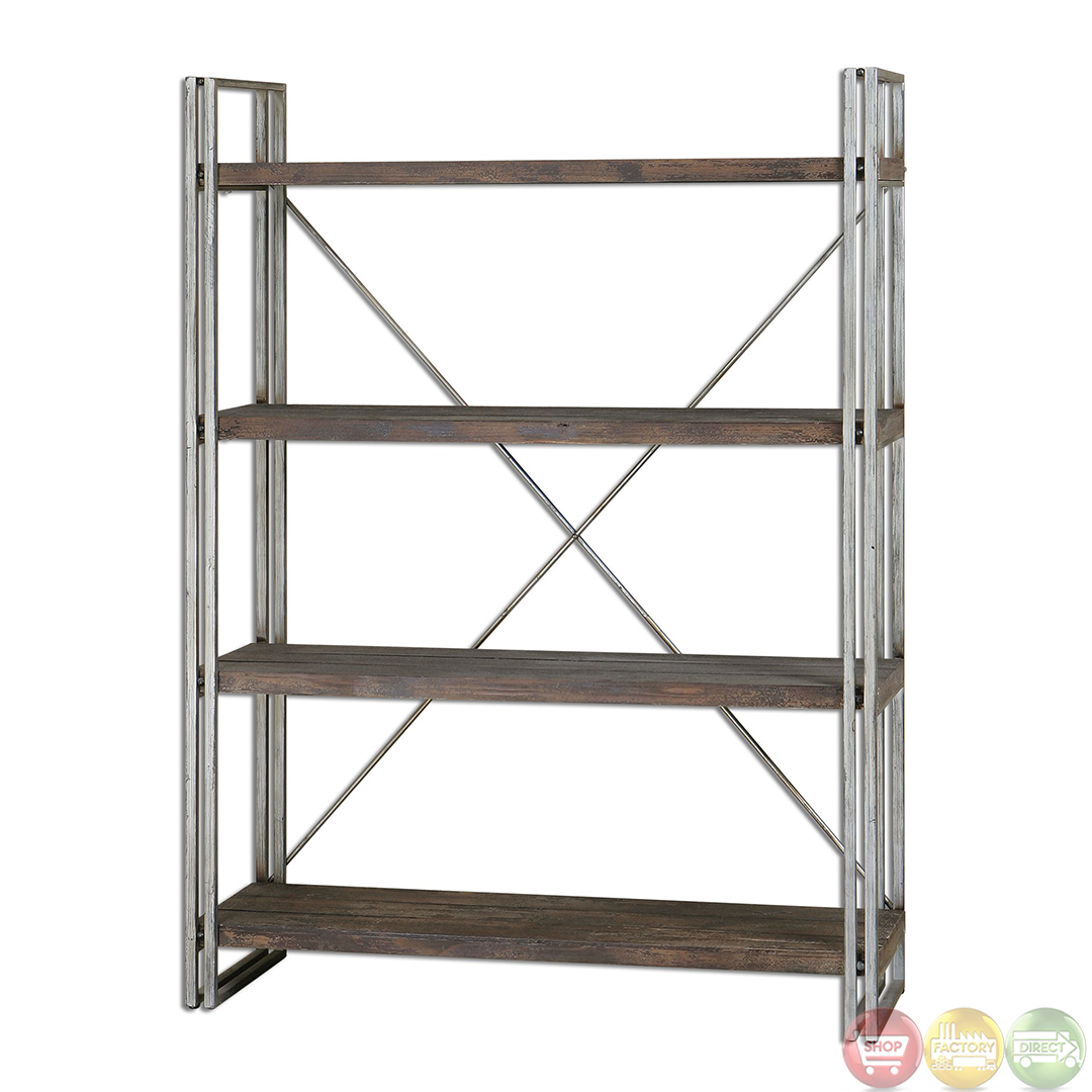 Greeley industrial design weathered silver metal display shelves etagere 24396 ebay - Etagere metal design ...