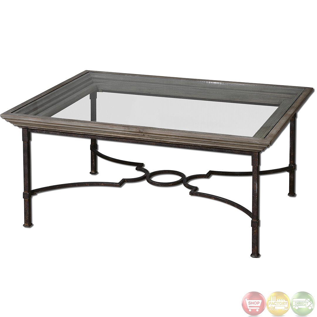 Huxley antiqued wood frame glass top coffee table 24291 ebay Wood coffee table glass top