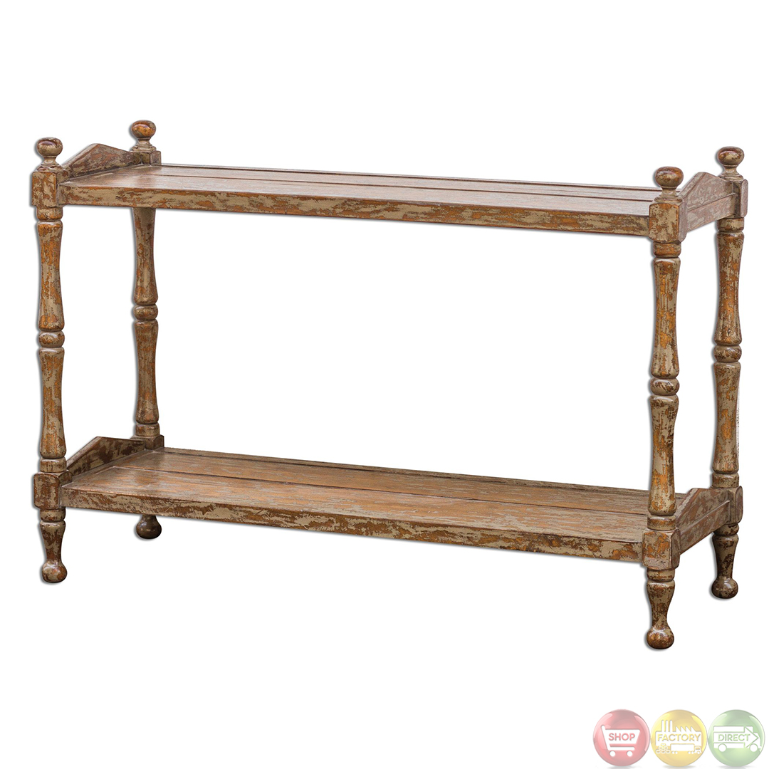 Macaire Country Rustic Solid Wood Sofa Table 25597 Ebay