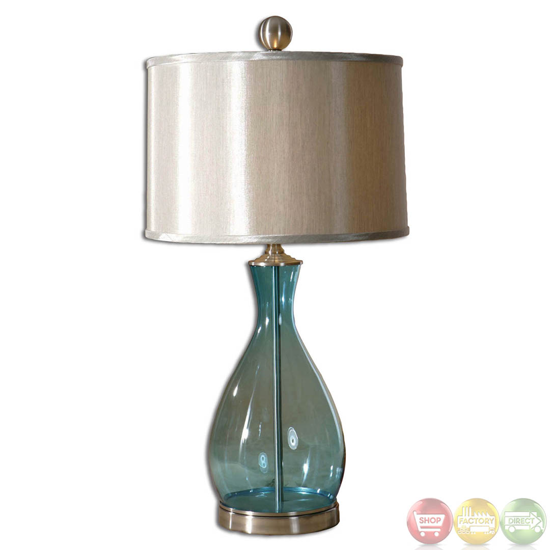 meena clear blue mouth blown glass table lamp 27862 1 ebay. Black Bedroom Furniture Sets. Home Design Ideas