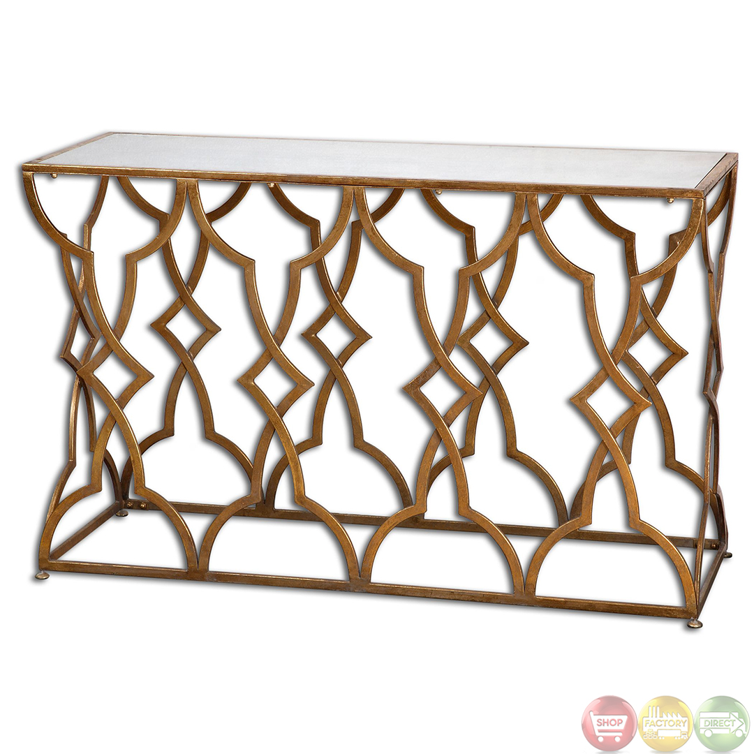 Osea Antique Gold Leaf Finish Mirror Top Console Table