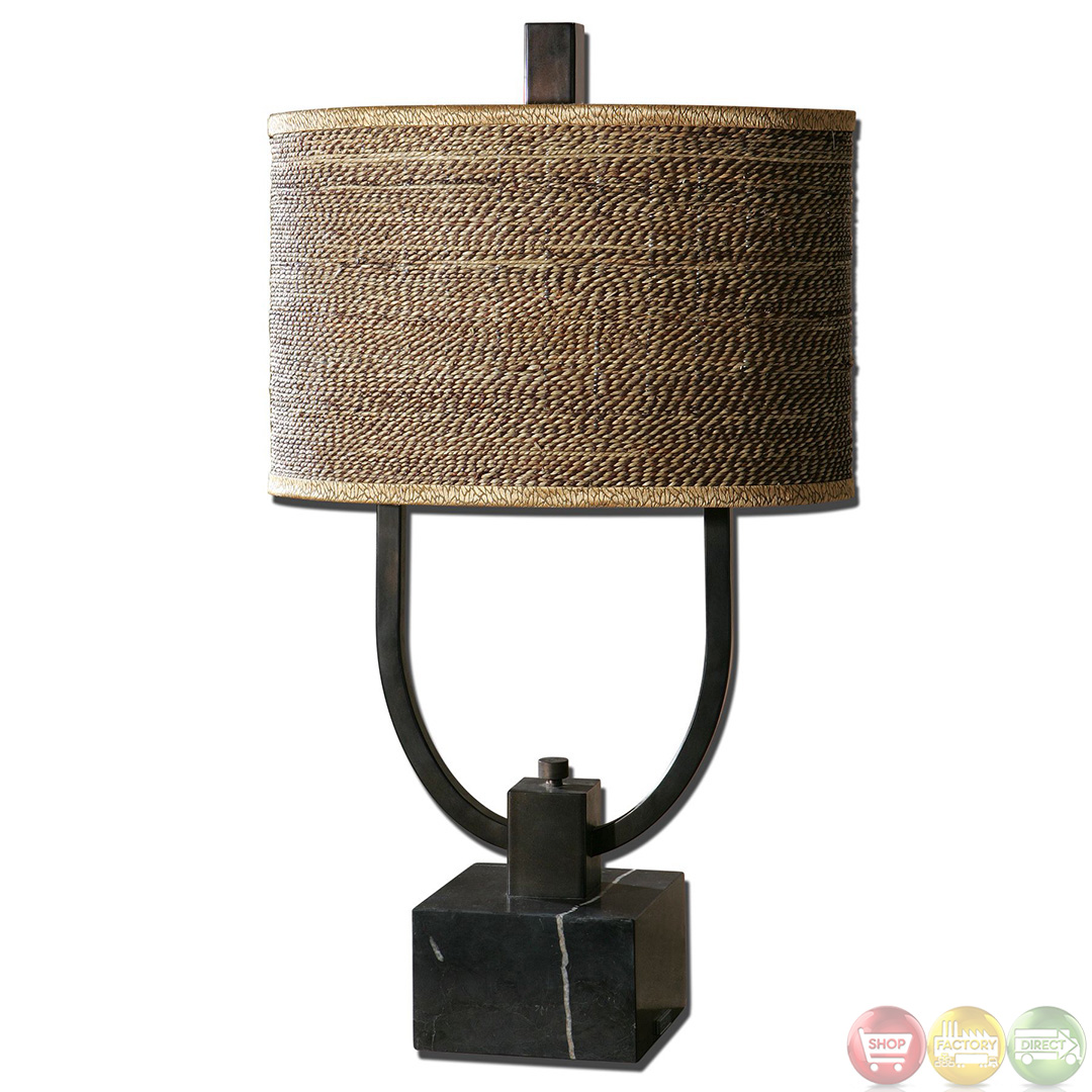 Stabina Rustic Bronze Base Amp Rattan Shade Table Lamp 26541