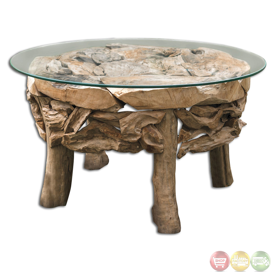 Teak Root Glass Top Beach House Coffee Table 25619 Ebay