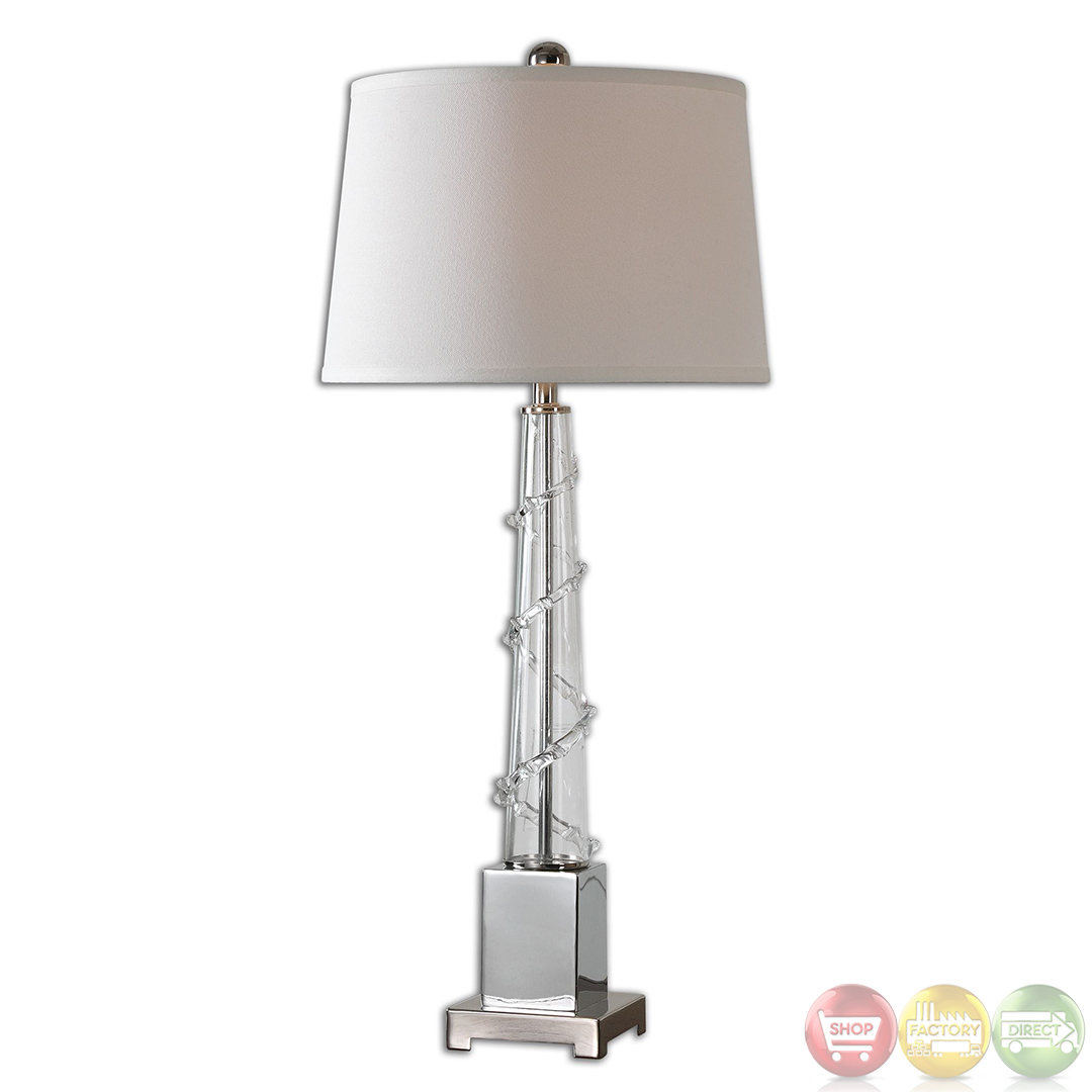 details about vetro beaded spiral design clear glass table lamp 26556. Black Bedroom Furniture Sets. Home Design Ideas