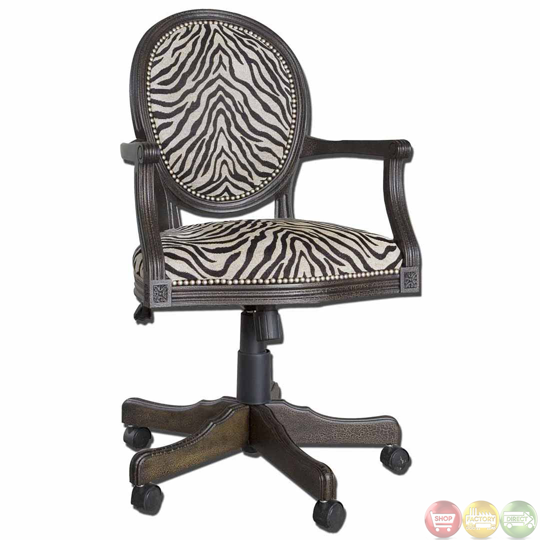 Print Solid Mahogany Wood Frame Swivel Office Desk Chair 23077 EBay