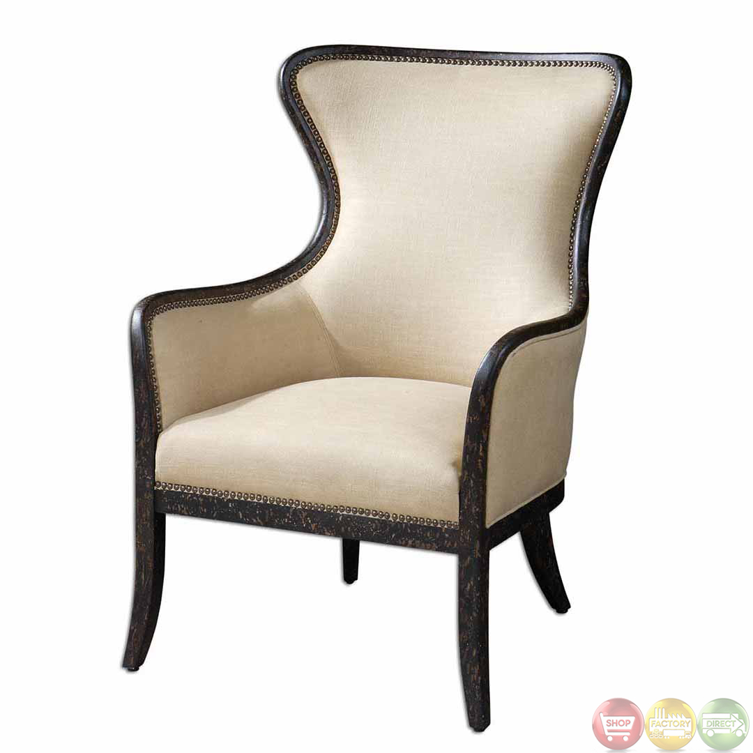 Zander Tan Linen Exposed Wood Frame Wingback Armchair 23051